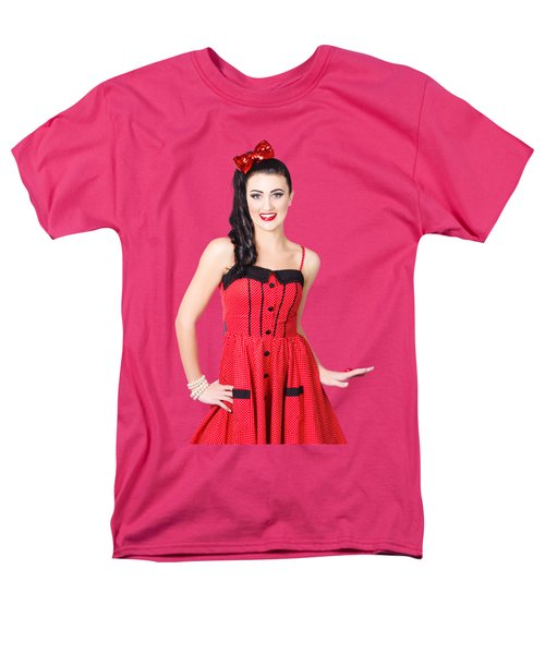 Men's T-Shirt  (Regular Fit) featuring the photograph Beautiful Pinup Girl With Pretty Smile by Jorgo Photography - Wall Art Gallery