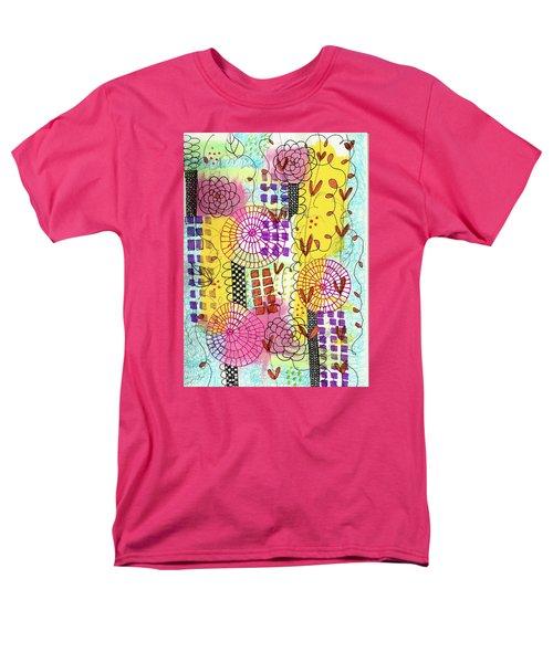 Men's T-Shirt  (Regular Fit) featuring the mixed media City Flower Garden by Lisa Noneman