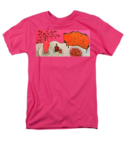 Men's T-Shirt  (Regular Fit) featuring the painting Down The Stairs Into The Living Room  By Paul Paucciarelli  by Iconic Images Art Gallery David Pucciarelli