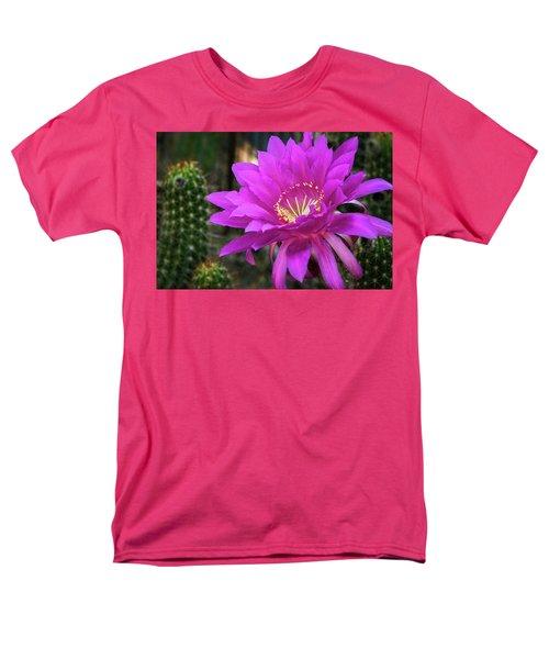 Men's T-Shirt  (Regular Fit) featuring the photograph Echinopsis In Hot Pink  by Saija Lehtonen