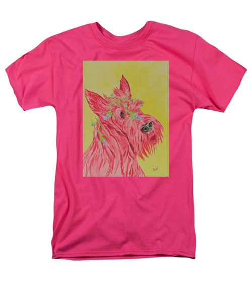 Men's T-Shirt  (Regular Fit) featuring the painting Flower Dog 6 by Hilda and Jose Garrancho