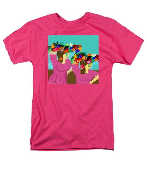 Men's T-Shirt  (Regular Fit) featuring the photograph Flower Girls In The Market by Haleh Mahbod