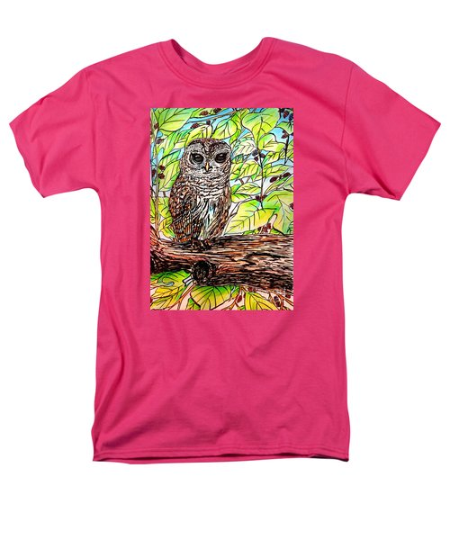 Men's T-Shirt  (Regular Fit) featuring the painting Give A Hoot by Patricia L Davidson