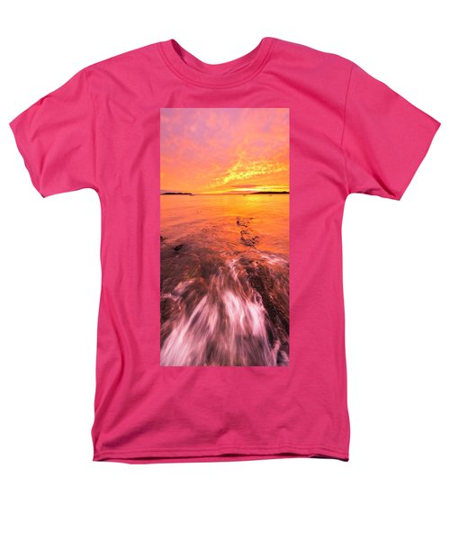 Maine Rocky Coastal Sunset At Kettle Cove Men's T-Shirt  (Regular Fit) by Ranjay Mitra