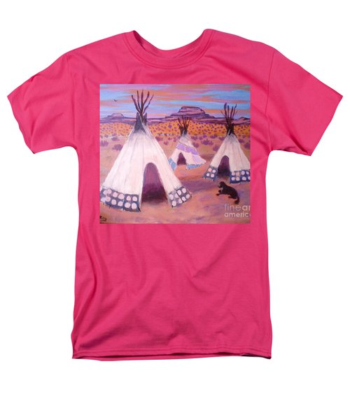 Men's T-Shirt  (Regular Fit) featuring the painting Piegan Indian Tipis by Suzanne McKay