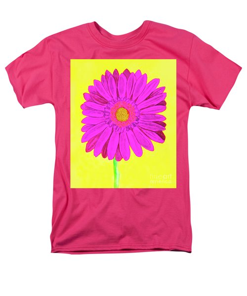 Pink Gerbera On Yellow, Watercolor Men's T-Shirt  (Regular Fit) by Irina Afonskaya