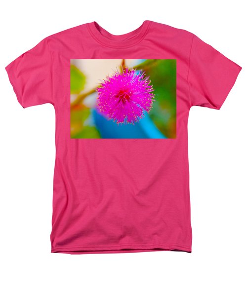 Pink Puff Flower Men's T-Shirt  (Regular Fit) by Samantha Thome