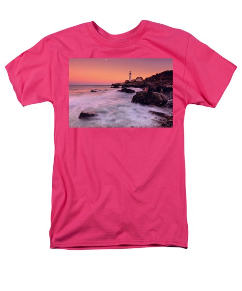 Men's T-Shirt  (Regular Fit) featuring the photograph Portland Head Light In Pink  by Emmanuel Panagiotakis