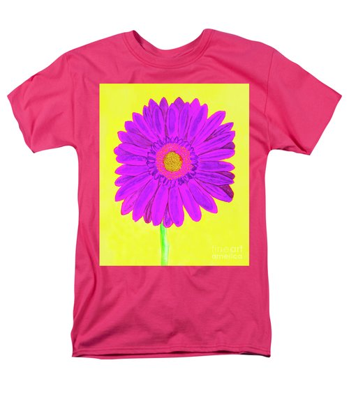 Purple  Gerbera On Yellow, Watercolor Men's T-Shirt  (Regular Fit) by Irina Afonskaya