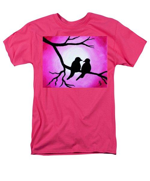 Red Love Birds Silhouette Men's T-Shirt  (Regular Fit)