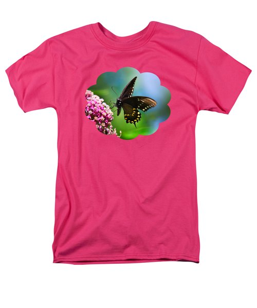 Spicebush Swallowtail Butterfly On Pink Flower Men's T-Shirt  (Regular Fit)