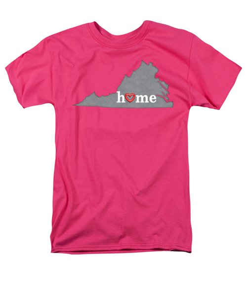 State Map Outline Virginia With Heart In Home Men's T-Shirt  (Regular Fit) by Elaine Plesser