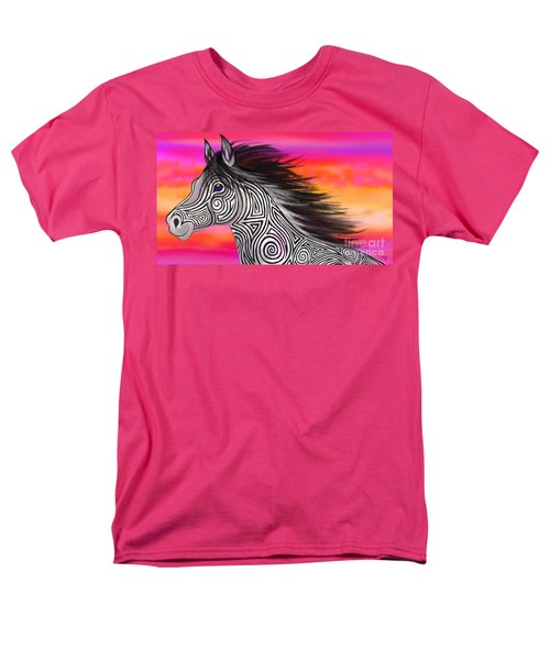 Men's T-Shirt  (Regular Fit) featuring the painting Sunset Ride Tribal Horse by Nick Gustafson