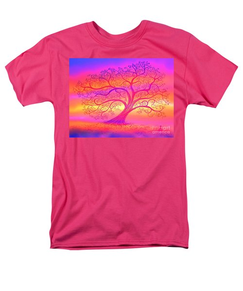 Men's T-Shirt  (Regular Fit) featuring the painting Sunset Tree Cats by Nick Gustafson