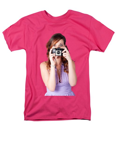 Men's T-Shirt  (Regular Fit) featuring the photograph Surprised Woman Taking Picture With Old Camera by Jorgo Photography - Wall Art Gallery