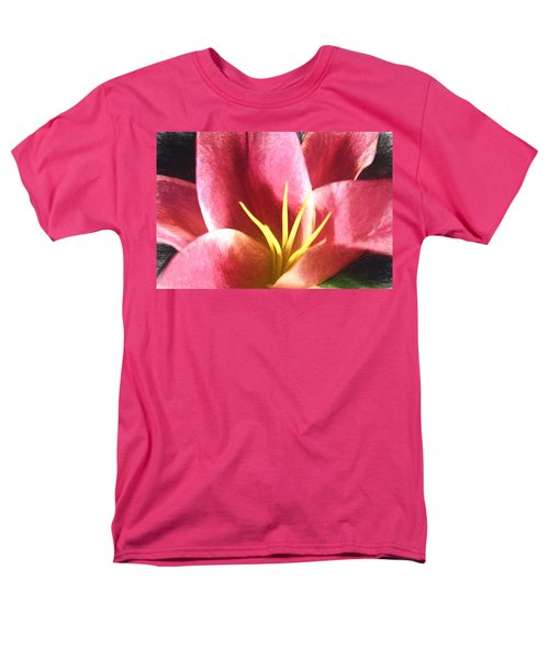 Men's T-Shirt  (Regular Fit) featuring the digital art Yellow Fingers, Pink Blush by Terry Cork