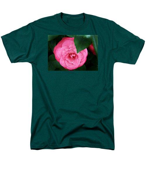 Men's T-Shirt  (Regular Fit) featuring the photograph  Camellia Japonica ' Elizabeth Weaver ' by William Tanneberger