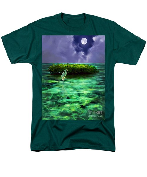 Men's T-Shirt  (Regular Fit) featuring the painting Full Moon Fishing by David  Van Hulst