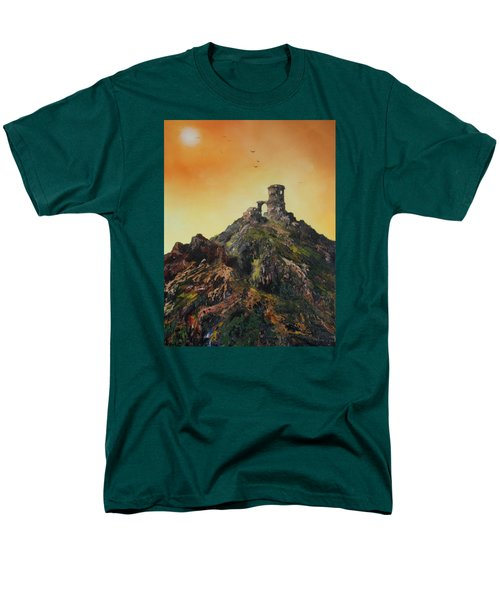 Men's T-Shirt  (Regular Fit) featuring the painting Mow Cop Castle Staffordshire by Jean Walker