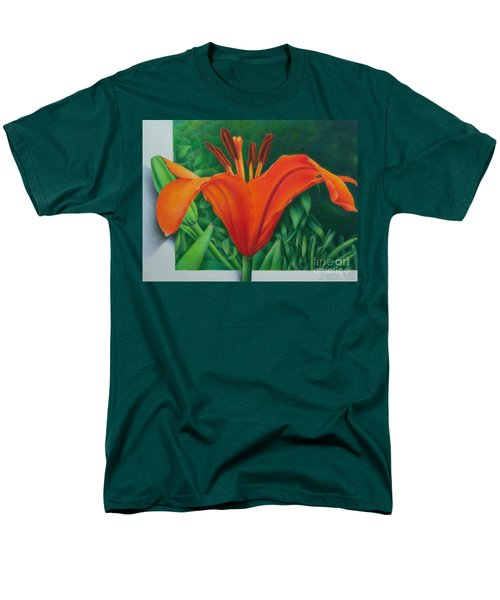Men's T-Shirt  (Regular Fit) featuring the painting Orange Lily by Pamela Clements