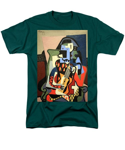 Picasso's Harlequin Musician Men's T-Shirt  (Regular Fit) by Cora Wandel