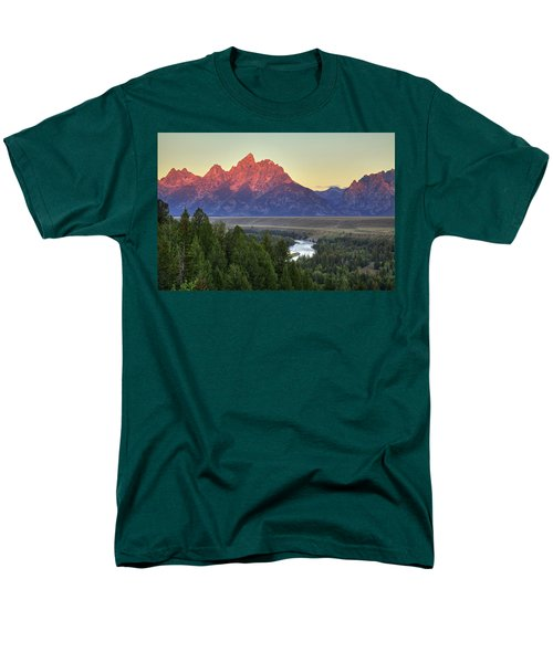 Men's T-Shirt  (Regular Fit) featuring the photograph Grand Tetons Morning At The Snake River Overview - 2 by Alan Vance Ley