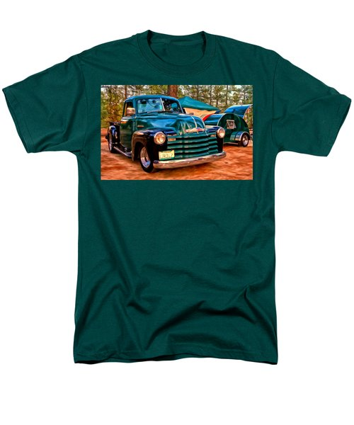 '51 Chevy Pickup With Teardrop Trailer Men's T-Shirt  (Regular Fit) by Michael Pickett