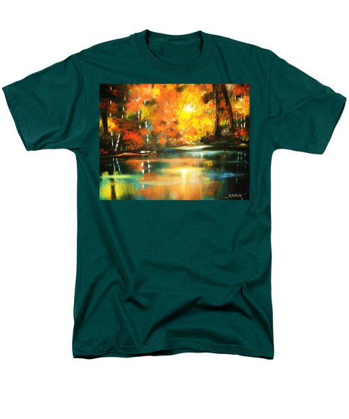 Men's T-Shirt  (Regular Fit) featuring the painting A Light In The Forest by Al Brown