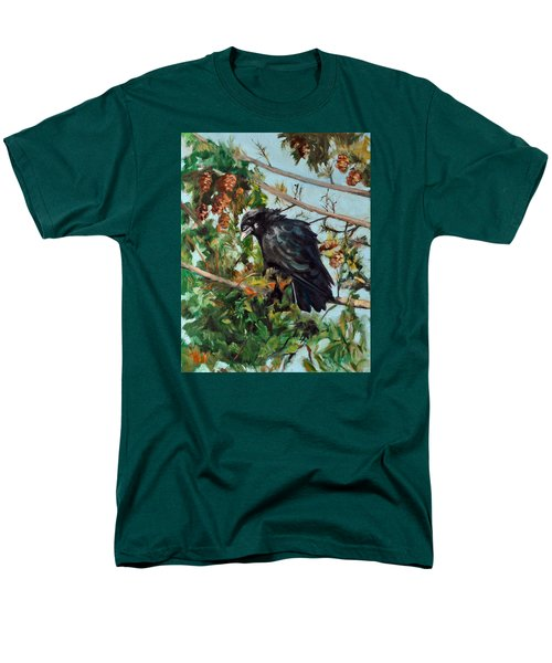Men's T-Shirt  (Regular Fit) featuring the painting A Perch For Nevermore by Pattie Wall