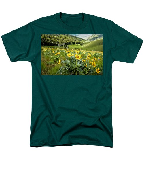 Men's T-Shirt  (Regular Fit) featuring the photograph Arrow Leaf Balsam Root by Jack Bell