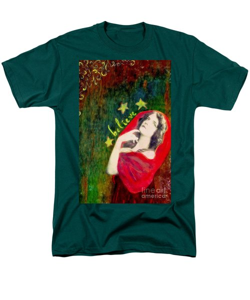 Men's T-Shirt  (Regular Fit) featuring the mixed media Believe by Desiree Paquette