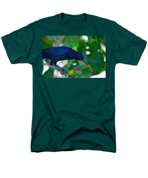 Blue-black Black Bird Men's T-Shirt  (Regular Fit) by Susan Molnar