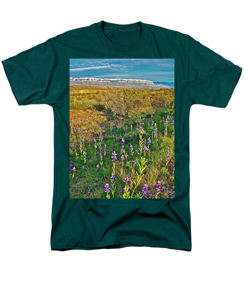 Bluebonnets And Creosote Bushes In Big Bend National Park-texas Men's T-Shirt  (Regular Fit) by Ruth Hager