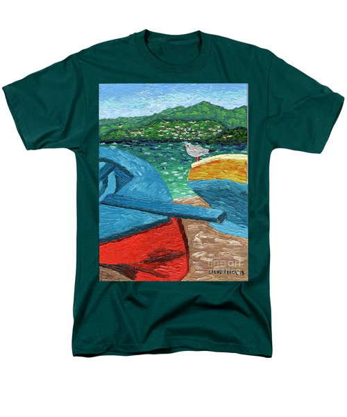 Boats And Bird At Rest Men's T-Shirt  (Regular Fit) by Laura Forde