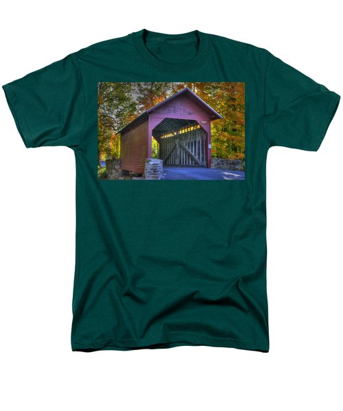 Bridge To The Past Roddy Road Covered Bridge-a1 Autumn Frederick County Maryland Men's T-Shirt  (Regular Fit) by Michael Mazaika