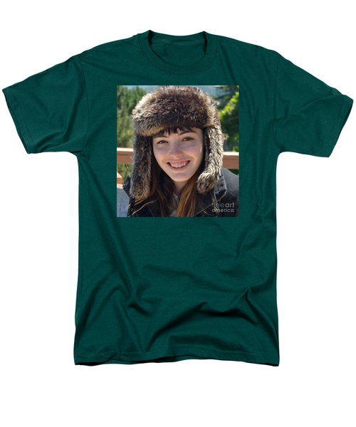 Men's T-Shirt  (Regular Fit) featuring the photograph Brown Haired And Freckle Faced Natural Beauty Model Wearing A Hat by Jim Fitzpatrick