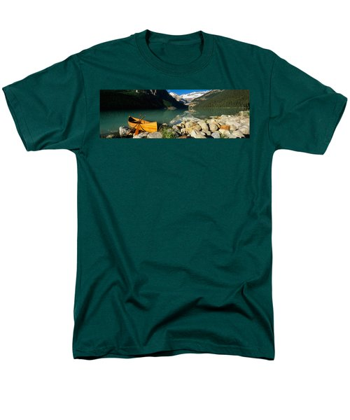 Canoe At The Lakeside, Lake Louise Men's T-Shirt  (Regular Fit) by Panoramic Images