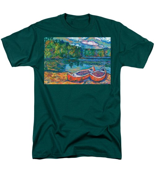 Canoes At Mountain Lake Sketch Men's T-Shirt  (Regular Fit) by Kendall Kessler
