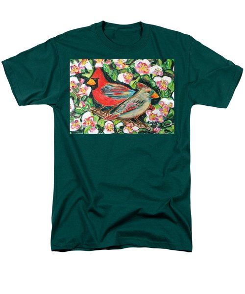 Men's T-Shirt  (Regular Fit) featuring the painting Cardinals In An Apple Tree by Diane Pape