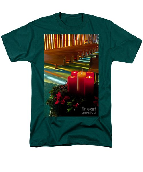 Men's T-Shirt  (Regular Fit) featuring the photograph Christmas Candles At Church Art Prints by Valerie Garner