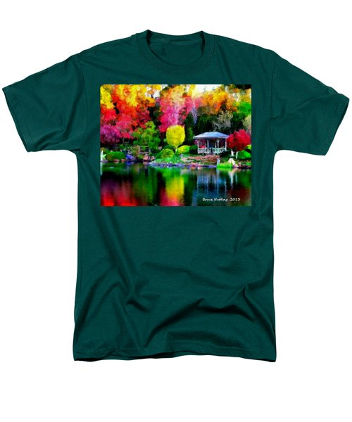 Men's T-Shirt  (Regular Fit) featuring the painting Colorful Park At The Lake by Bruce Nutting