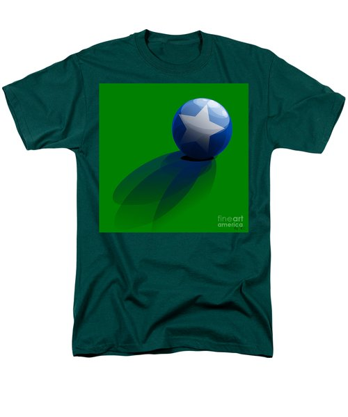 Men's T-Shirt  (Regular Fit) featuring the digital art Blue Ball Decorated With Star Grass Green Background by R Muirhead Art