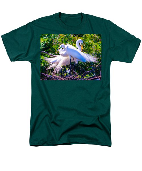 Criss-cross Egrets Men's T-Shirt  (Regular Fit) by Susan Molnar