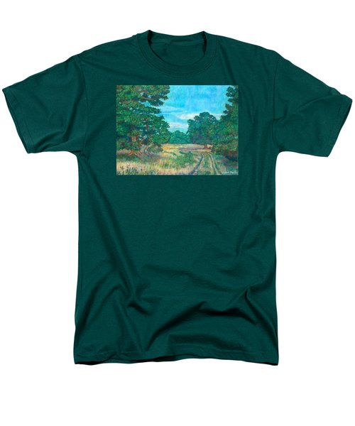 Men's T-Shirt  (Regular Fit) featuring the painting Dirt Road Near Rock Castle Gorge by Kendall Kessler