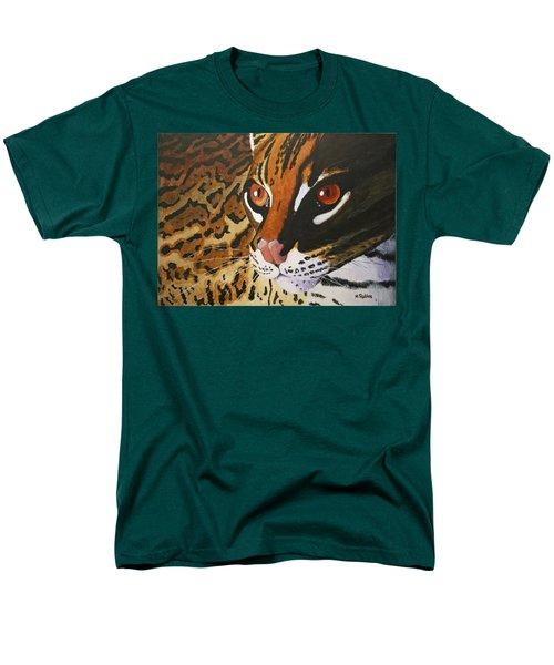 Endangered - Ocelot Men's T-Shirt  (Regular Fit) by Mike Robles