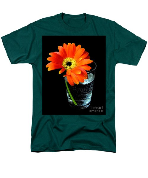 Men's T-Shirt  (Regular Fit) featuring the photograph Gerbera Daisy In Glass Of Water by Nina Ficur Feenan
