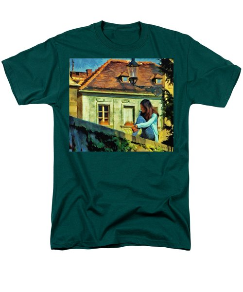 Men's T-Shirt  (Regular Fit) featuring the painting Girl Posing On Stone Wall by Jeff Kolker