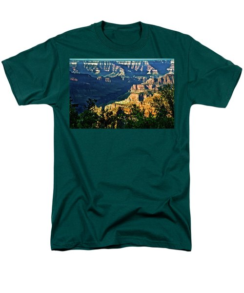 Men's T-Shirt  (Regular Fit) featuring the photograph Grand Canyon  Golden Hour On Angel Point by Bob and Nadine Johnston
