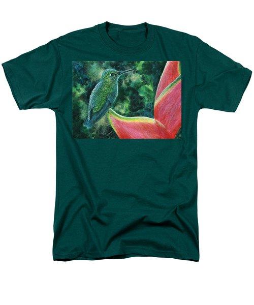 Men's T-Shirt  (Regular Fit) featuring the drawing Green Hummingbird by Sandra LaFaut