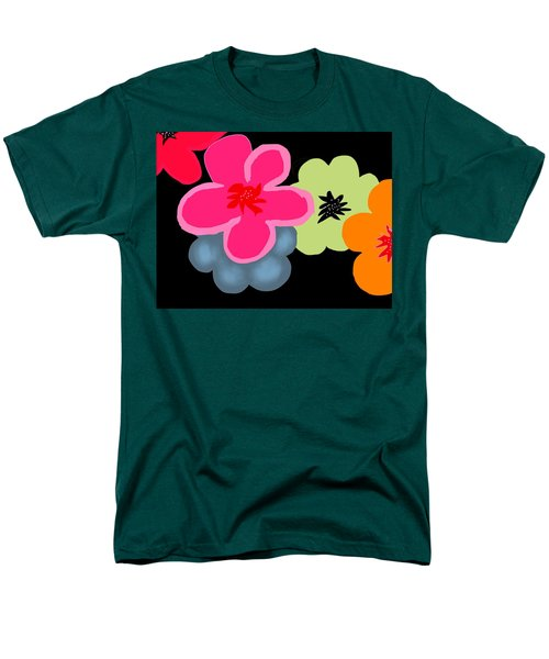 Men's T-Shirt  (Regular Fit) featuring the digital art Happy Flowers Pink by Christine Fournier